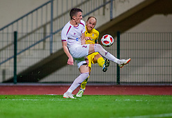 17# Ibricic Senijad of Domzale and 2# Drilon Kryeziu of Triglav during football match between Domzale and NK Triglav Kranj in 1. Slovenian National League, on September 16, 2018 in Sports park Domzale Ljubljana, Ljubljana, Slovenia. Photo by Urban Meglic / Sportida