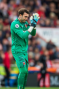 Roberto Jimenez (GK) (West Ham) thanking the West Ham FC supporters for their welcome onto the pitch during the Premier League match between Bournemouth and West Ham United at the Vitality Stadium, Bournemouth, England on 28 September 2019.