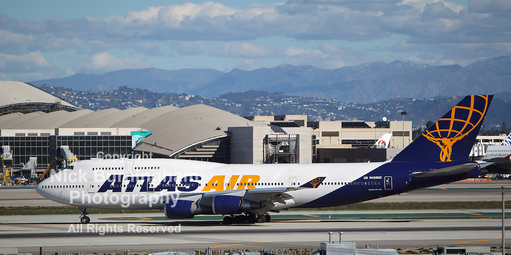 LOS ANGELES, CALIFORNIA, USA - JANUARY 28, 2013 - Atlas Airlines Boeing 747-446 taxis at Los Angeles Airport on January 28, 2013. The 400 series is 4% more fuel efficient than other 747's.