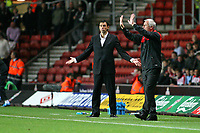 Football<br /> Coca Cola Football League One<br /> Southampton vs Brighton and Hove Albion at St Mary's Stadium<br /> Southampton Manager Alan Pardew and Brighton and Hove Albion's new Manager Gus Poyet  <br /> 15/11/2009<br /> Credit Colorsport / Shaun Boggust
