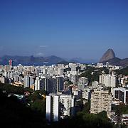 A view o Rio de Janeiro showing Sugar Loaf Mountain from Santa Teresa in the hills of Rio de Janeiro, Brazil. 24th July 2010. Photo Tim Clayton..
