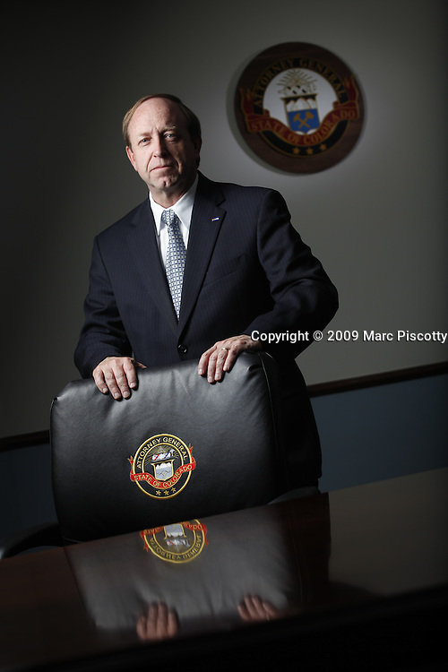 SHOT 5/13/09 4:10:07 PM - Colorado Attorney General John Suthers (R) in his offices in Denver, Co. Following the election of prior Attorney General Ken Salazar to the United States Senate, John Suthers was nominated by Governor Bill Owens and confirmed by the State Senate as the 37th Attorney General of Colorado in 2005. Suthers served the remaining two years of Salazar's term before running for reelection in 2006. In November 2006, Suthers won election to the Attorney General's Office, defeating challenger Fern O'Brien by nine points..(Photo by Marc Piscotty / © 2009)