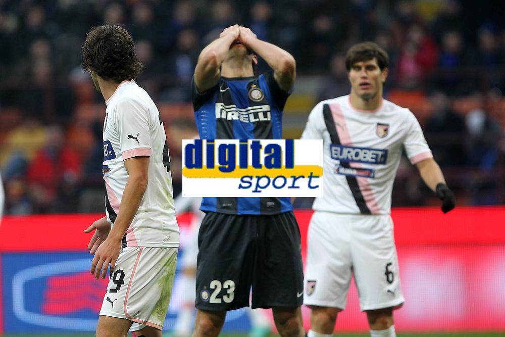 """Delusione Andrea Ranocchia Inter.Milano 02/12/2012 Stadio """"San Siro"""".Football Calcio Serie A 2012/13.Inter v Palermo.Foto Insidefoto Paolo Nucci."""