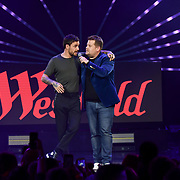 James Corden is a host and Liam Payne Performances at Westfield London's 10-year birthday celebrations at Westfield Square on 30 October 2018, London, UK.