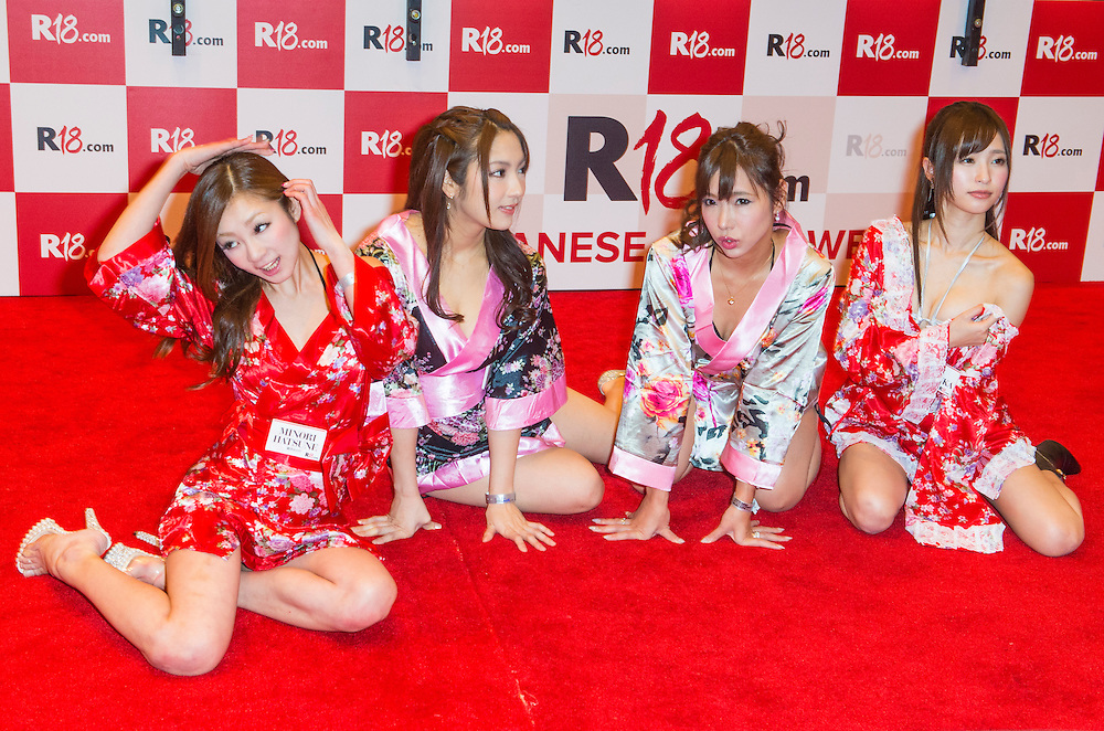 LAS VEGAS - JAN 23 : Unidentified Adult film actresses at the Japanese R18.com booth at the 2016 AVN Adult Entertainment Expo at the Hard Rock Hotel & Casino on January 23, 2016 in Las Vegas.