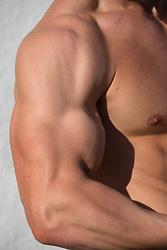 detail of a muscular man's arm