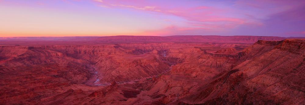 Dawn at Main view of Fish River Canyon, Hobas, Fish River Canyon Area Conservation, Karas Region, Namibia