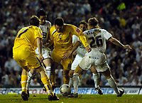 Photo: Jed Wee.<br /> Leeds United v Preston North End. Coca Cola Championship. Play-off, First Leg. 05/05/2006. <br /> <br /> Preston's David Nugent (C) finds space in a crowded penalty area in the build up to his goal.