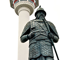 Admiral Yi Sun-shin Statue at Yongdusan Park in Busan, South Korea<br />