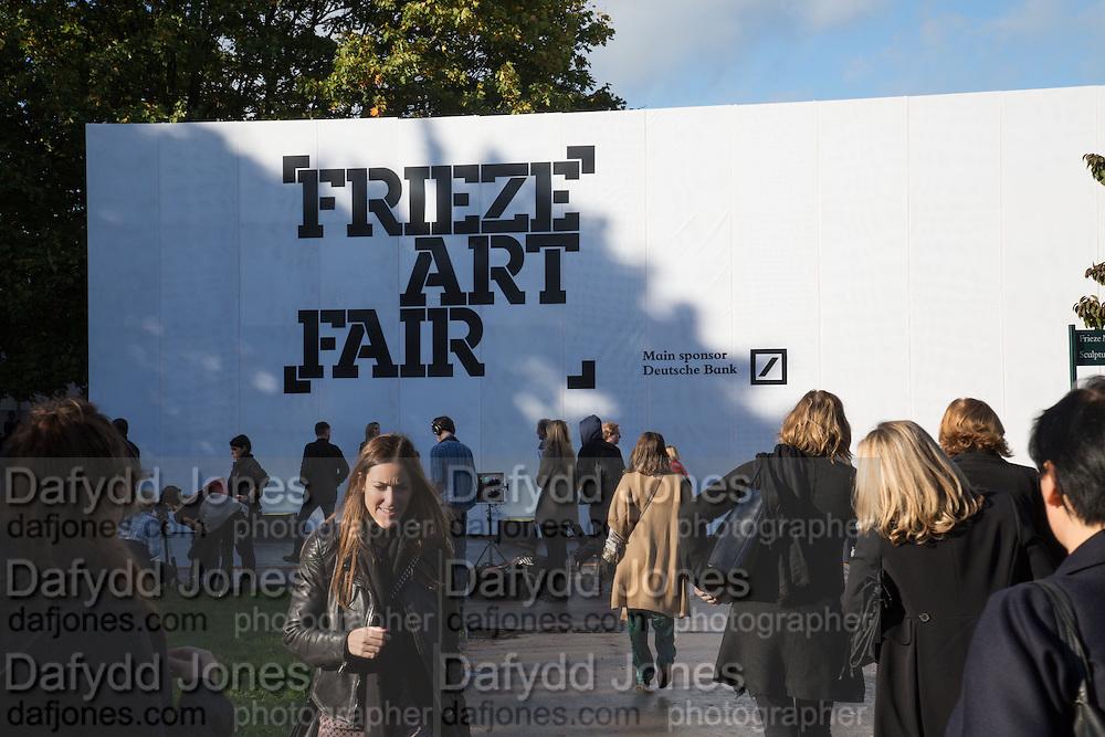The VIP preview of Frieze. Regent's Park. London. 16 October 2013