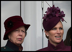 March 13, 2019 - Cheltenham, United Kingdom - Image licensed to i-Images Picture Agency. 13/03/2019. Cheltenham , United Kingdom. Zara Phillips and her mother Princess Anne watching the racing during Ladies Day on the second day of the Cheltenham Festival  (Credit Image: © Stephen Lock/i-Images via ZUMA Press)
