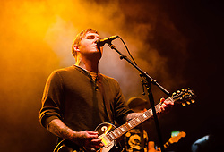 © Licensed to London News Pictures. 15/10/2012. London, UK.   The Gaslight Anthem performing live at O2 Academy Brixton. The Gaslight Anthem is an American rock band from New Brunswick, New Jersey, formed in 2006. The band consists of Brian Fallon (lead vocals, guitar), Alex Rosamilia (guitar, backing vocals), Alex Levine (bass guitar, backing vocals) and Benny Horowitz (drums, percussion).  Photo credit : Richard Isaac/LNP