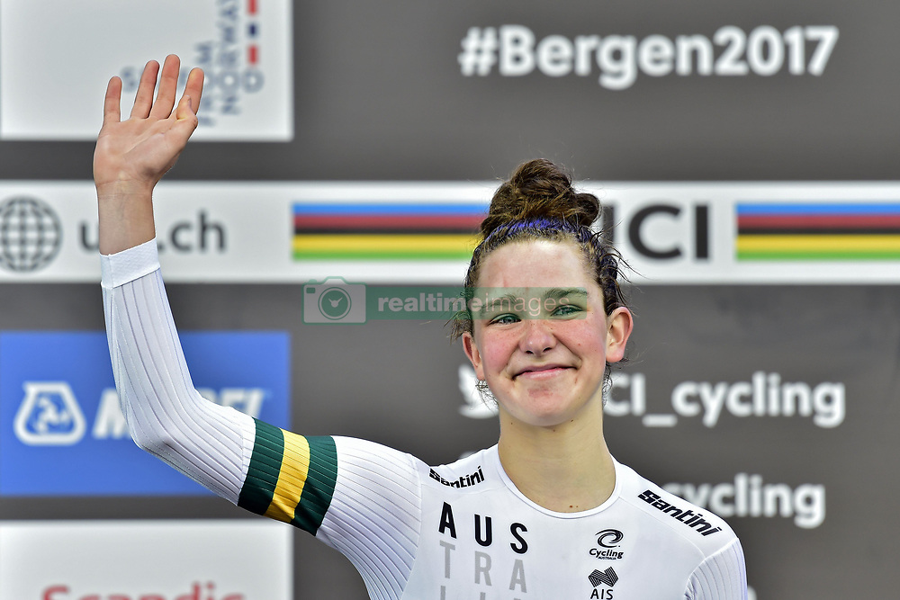 September 18, 2017 - Bergen, Norvege - BERGEN, NORWAY - SEPTEMBER 18 : bronze medalist Madeleine Fasnacht (Aus) pictured during the podium ceremony of the Individual Time Trial Women Junior on day 2 of the 2017 World Road Championship cycling race on September 18, 2017 in Bergen, Norway, 18/09/2017 (Credit Image: © Panoramic via ZUMA Press)