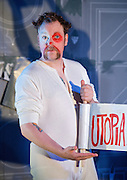 Utopia <br /> conceived &amp; directed by Steve Marmion &amp; Max Roberts<br /> written by Dylan Moran and Simon Stephens and others<br /> designed by Lucy Osborne Lighting by Richard Howell<br /> Sound by Tom Gibbons<br /> Choreography by Lee Proud<br /> at The Soho Theatre, London, Great Britain <br /> <br /> Press photocall<br /> 21st June 2012<br /> Tobu Bakare<br /> Laura Elphinstone<br /> Rufus Hound<br /> Pamela Miles<br /> Sophia Myles<br /> David Whitaker<br /> Photograph by Elliott Franks