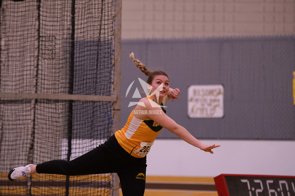 Danielle Fedak in action during the 2018 Canada West Track & Field Championship on February  23 at James Daly Fieldhouse. Credit: Arthur Ward/Arthur Images