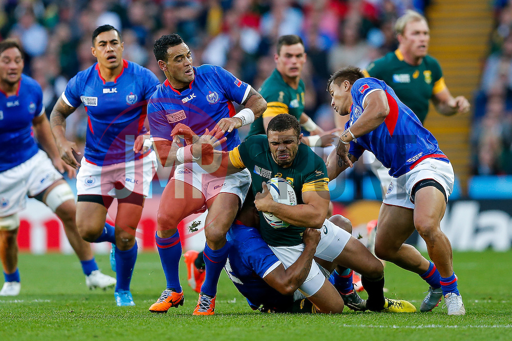 South Africa Winger Bryan Habana is tackled by Samoa Scrum-Half Kahn Fotuali'i - Mandatory byline: Rogan Thomson/JMP - 07966 386802 - 26/09/2015 - RUGBY UNION - Villa Park - Birmingham, England - South Africa v Samoa - Rugby World Cup 2015 Pool B.