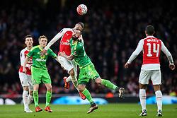 Kieran Gibbs of Arsenal heads the ball over Steven Fletcher of Sunderland - Mandatory byline: Jason Brown/JMP - 07966386802 - 09/01/2016 - FOOTBALL - Emirates Stadium - London, England - Arsenal v Sunderland - The Emirates FA Cup