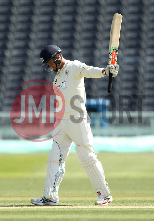 Gloucestershire's Gareth Roderick raises his bat after reaching fifty - Photo mandatory by-line: Robbie Stephenson/JMP - Mobile: 07966 386802 - 28/04/2015 - SPORT - Cricket - Bristol - The County Ground - Gloucestershire v Derbyshire - County Championship Division Two