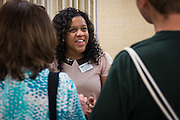 Kiera Fletcher discusses the offerings of the Career and Leadership Development Center with new Bobcats and their parents during the sign-in for  Bobcat Student Orientation on Friday, June 5, 2015.  Photo by Ohio University  /  Rob Hardin