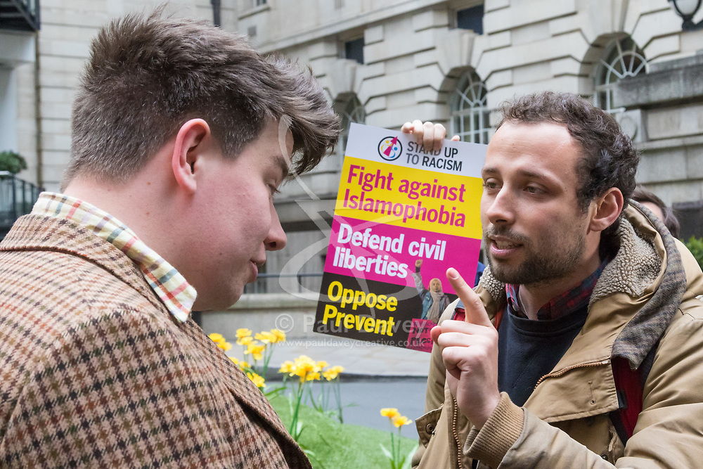 London, April 28th 2017. Anti-discrimination protesters disrupt the launch of UKIP's election campaign at the Marriot County Hall in Westminster. PICTURED: A protester, right, remonstrates with a man alleged to be a journalist from the right wing Breitbart.<br /> Credit: ©Paul Davey