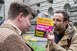 London, April 28th 2017. Anti-discrimination protesters disrupt the launch of UKIP's election campaign at the Marriot County Hall in Westminster. PICTURED: A protester, right, remonstrates with a man alleged to be a journalist from the right wing Breitbart.<br /> Credit: &copy;Paul Davey