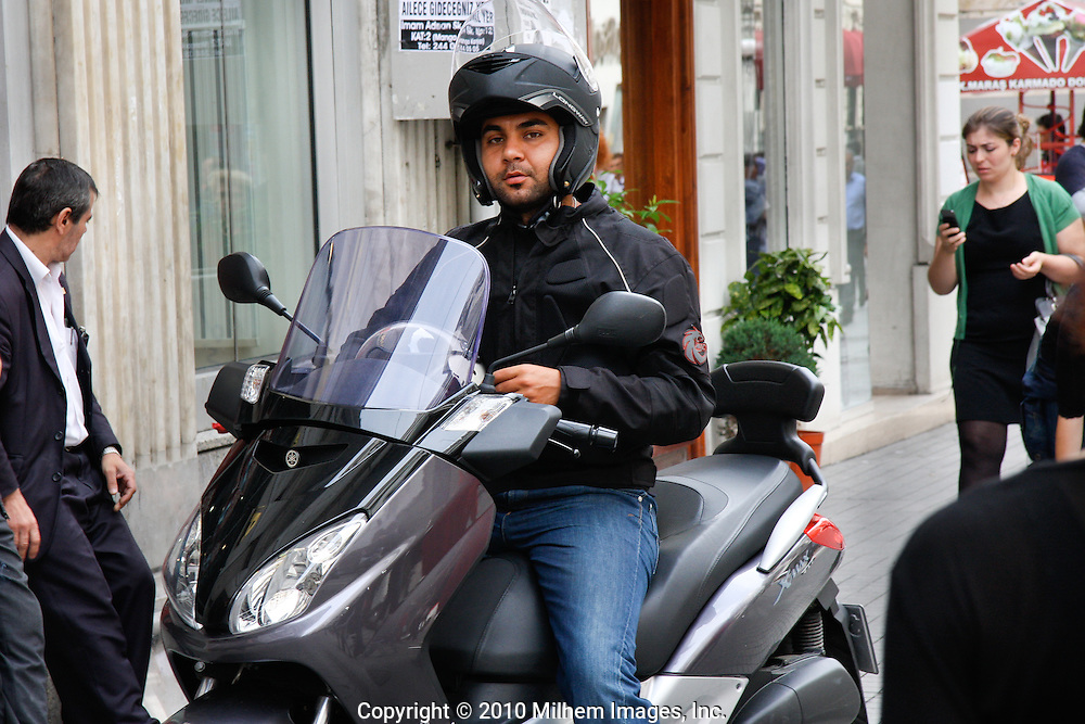 Motor cycle rider in Istanbul Turkey