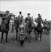 "05/08/1960<br /> 05/08/1960<br /> 05 August 1960<br /> R.D.S Horse Show Dublin (Friday). Aga Khan Trophy. The winning Argentine team with non-riding captain Señor Pedro Mayorga (holding Aga Khan trophy) and (l-r): Lieut-Col. Carlos Deila on ""Huipil""; Jorge Lucardi on ""Stromboli"";  Lieut. Naldo Dasso on ""Final"" and Ernesto Hartkopf on ""Baltasar""."