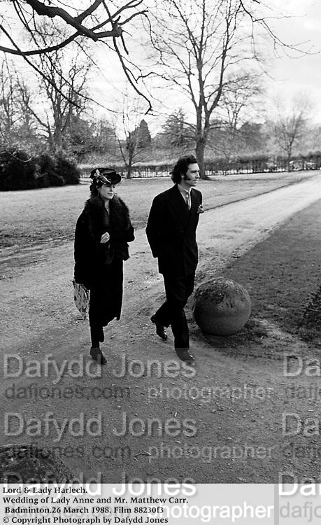 Lord & Lady Harlech. Wedding of Lady Anne and Mr. Matthew Carr.  Badminton.26 March 1988. Film 88230f3<br />© Copyright Photograph by Dafydd Jones<br />248 Clapham Rd. London SW9 0PZ<br />0207 820 0771