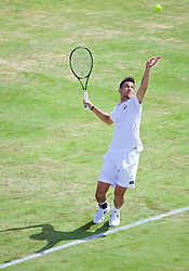 LIVERPOOL, ENGLAND - Thursday, June 18, 2015: Damir Dzumhur (BIH) during Day 1 of the Liverpool Hope University International Tennis Tournament at Liverpool Cricket Club. (Pic by David Rawcliffe/Propaganda)