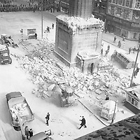 A rooftop view of the remains of Nelson's Pillar after the explosion that took place on March 8, 1966 in Dublin city centre.(Part of the Independent Newspapers/NLI Collection)