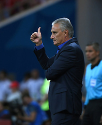 ROSTOV-ON-DON, June 17, 2018  Brazil's head coach Tite reacts during a group E match between Brazil and Switzerland at the 2018 FIFA World Cup in Rostov-on-Don, Russia, June 17, 2018. (Credit Image: © Li Ga/Xinhua via ZUMA Wire)
