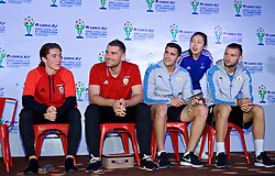 NANNING, CHINA - Saturday, March 24, 2018: Wales' Harry Wilson and Sam Vokes and Uruguay's Lucas Torreira and Maxi Gómez during a meet & greet event at the Nanning Wanda Mall during the 2018 Gree China Cup International Football Championship. (Pic by David Rawcliffe/Propaganda)