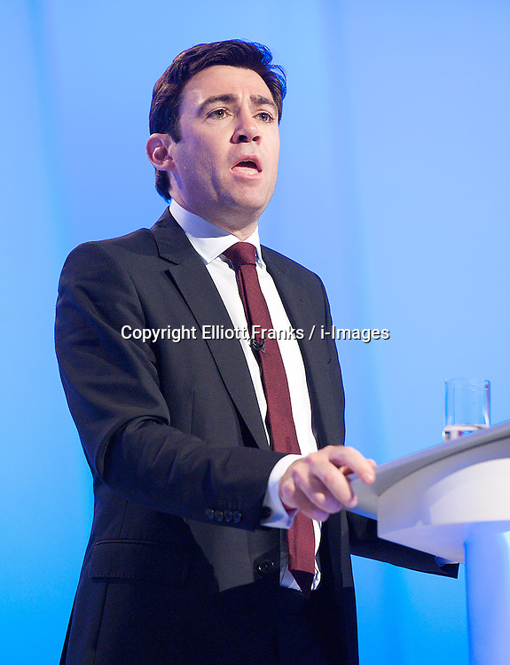 Andy Burnham MP, Shadow Health Secretary speech during the Labour Party Conference in Manchester, October 3, 2012. Photo by Elliott Franks / i-Images.