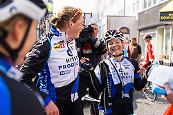 Emilie Moberg enjoying Kirsten Wild's victory as much as her teammate - Energiewacht Tour 2016 - Stage 5 Borkum, Germany.