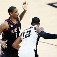 03 May 2017: San Antonio Spurs forward LaMarcus Aldridge (12) posts up Houston Rockets forward Trevor Ariza (1) during the San Antonio Spurs 121-96 victory over the Houston Rockets, in game 2 of the Western Conference Semi Finals, at the AT&T Center, San Antonio, Texas, USA.