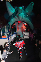 KELOWNA, CANADA - NOVEMBER 30: Dylen McKinlay #19 of the Kelowna Rockets enters the ice against the Moose Jaw Warriors at the Kelowna Rockets on November 30, 2012 at Prospera Place in Kelowna, British Columbia, Canada (Photo by Marissa Baecker/Getty Images) *** Local Caption ***