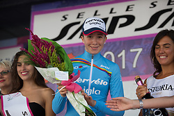 Cecilie Uttrup Ludwig (DEN) of Cervélo-Bigla Cycling Team celebrates retaining the UCI Women's World Tour young rider's blue jersey after Stage 10 of the Giro Rosa - a 124 km road race, starting and finishing in Torre Del Greco on July 9, 2017, in Naples, Italy. (Photo by Balint Hamvas/Velofocus.com)