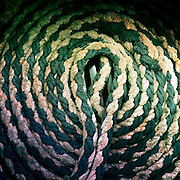 A rope neatly coiled on the TSS Earnslaw, the 100 year old vintage coal fired passenger steam ship which sails on Lake Wakatipu, Queenstown, New Zealand. The popular tourist attraction is celebrating it's centenary year with celebrations planned for October 2012.  Queenstown, Central Otago, New Zealand. 29th February 2012. Photo Tim Clayton