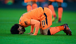 STOKE-ON-TRENT, ENGLAND - Wednesday, November 29, 2017: Liverpool's Mohamed Salah prays as he celebrates scoring the second goal during the FA Premier League match between Stoke City and Liverpool at the  Bet365 Stadium. (Pic by David Rawcliffe/Propaganda)