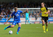 Jackson Irvine of Burton Albion and Aron Gunnarsson of Cardiff City during the Sky Bet Championship match at the Pirelli Stadium, Burton upon Trent<br /> Picture by Mike Griffiths/Focus Images Ltd +44 7766 223933<br /> 05/08/2017