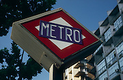 "Sign for the Barcelona Metro, established in 1924 as the ""Gran Metro"". Today the Metro is an extensive network of electrified railways that run underground in central Barcelona and above ground into the city's suburbs. The network is made up of 11 lines with 209 stations, with a total route length of 157.51 km (97.87 mi). Barcelona, Spain...Media Usage:.Subject photograph(s) are copyrighted Edward McCain. All rights are reserved except those specifically granted by McCain Photography in writing...McCain Photography.211 S 4th Avenue.Tucson, AZ 85701-2103.(520) 623-1998.mobile: (520) 990-0999.fax: (520) 623-1190.http://www.mccainphoto.com.edward@mccainphoto.com"