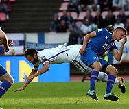 2.9.2017, Ratina Stadion, Tampere, Finland.<br /> FIFA World Cup 2018 Qualifying match, Finland v Iceland.<br /> Tim Sparv (Finland) v Alfred Finnbogason (Iceland).
