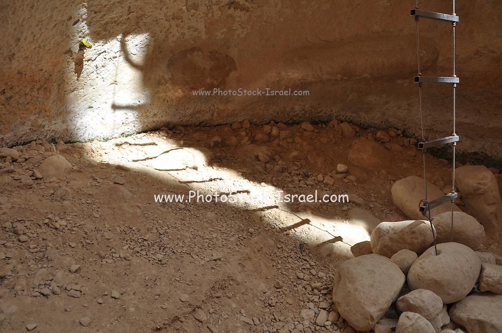 Israel, Aravah Desert, Wadi Barak Rope ladder in a cave