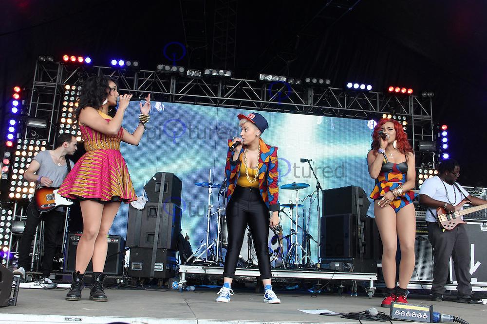 LONDON - JUNE 16: Stooshe performs at Lovebox, Victoria Park, London, UK. June 16, 2012. (Photo by Brett Cove/piQtured)