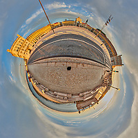 Comércio Plaza (Praça do Comércio). Little Planet View. Composite of 31 images taken with a Nikon D850 camera and 8-15 mm fisheye lens (ISO 200, 15 mm, f/11, 1/60 sec). Raw images processed with Capture One Pro and Auto Pano Giga.