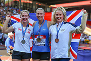Silver medalist Sophie COOK, gold medalist Holly BRADSHAW and bronze medalist Lucy BRYAN after the Women's Pole Vault Final during the Muller British Athletics Championships at Alexander Stadium, Birmingham, United Kingdom on 25 August 2019.