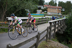 Lisa Klein (GER) of Cervélo-Bigla Cycling Team crosses a bridge  in the penultimate short lap of the Crescent Vargarda - a 152 km road race, starting and finishing in Vargarda on August 13, 2017, in Vastra Gotaland, Sweden. (Photo by Balint Hamvas/Velofocus.com)