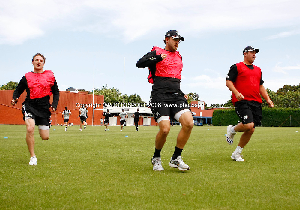 Brendon McCullum, Daniel Vettori and Jessie Ryder. Blackcaps training ahead of the 2nd ODI v West Indies at AMI Stadium in Christchurch. New Zealand Cricket Academy, Bert Sutcliffe Oval, Lincoln, New Zealand. 2nd January 2009. Photo:Simon Watts/PHOTOSPORT