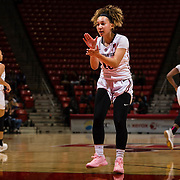 24 February 2018: The San Diego State women's basketball team closes out it's home schedule of the regular season Saturday afternoon against San Jose State. San Diego State Aztecs guard Naje Murray (10) celebrates after an Aztec steal and basket in the first half. At halftime the Aztecs lead the Spartans 36-33 at Viejas Arena.<br /> More game action at sdsuaztecphotos.com