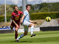 Nicolas Mortensen (FC Helsingør) følges af Nicolai Geertsen (Lyngby Boldklub) under træningskampen mellem Lyngby Boldklub og FC Helsingør den 3. juli 2019 på Lyngby Stadion (Foto: Claus Birch)